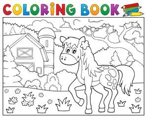 Coloring book horse near farm theme 1