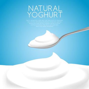 A Spoon of Natural Yogurt : Vector Illustration
