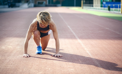 Middle-aged athlete woman Prepared to Run