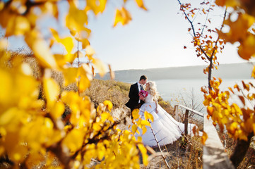 Charming bride and elegant groom on landscapes of mountains, nea