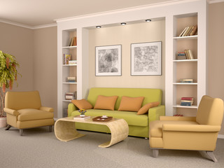 3d illustration of bright interior decorated living room with a