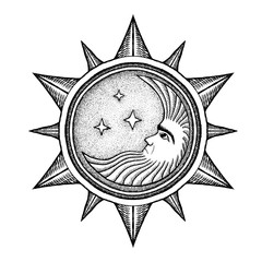 Moon With Stars - Vector Illustration Stylized as Engraving