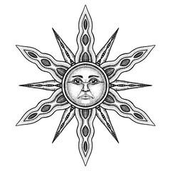 Alchemy Symbol of Sun - Vector Illustration Stylized as Engravin