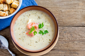 cream soup with shrimps