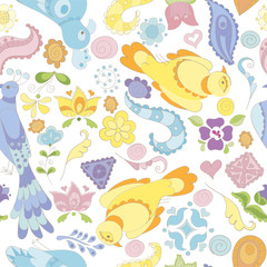 Seamless vector pattern with birds, flowers and feathers