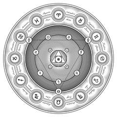 Alchemical Symbols Interaction Sheme - Vector Illustration Styli