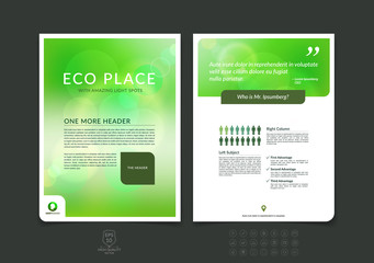 Business brochure, flyer and cover design layout template with e