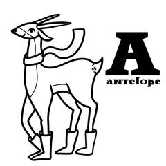 Letter a. Part of animals alphabet. Cartoon antelope wearing boots ang scarf. Coloring black and white.