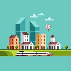 Big city. Cityscape. Urban landscape and city life. Vector flat illustration.