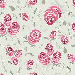 Floral seamless pattern with blooming roses hand made. Vintage Shabby Chic Rose Seamless Pattern. Painting background for romantic package paper.