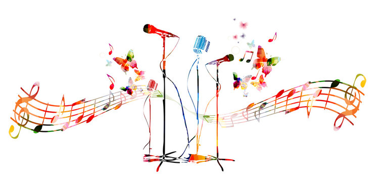 Colorful microphones with butterflies