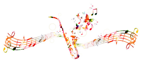 Colorful saxophone design with butterflies