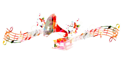 Colorful gramophone design with butterflies
