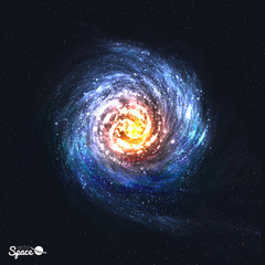 Colorful Realistic Spiral Galaxy on Cosmic Background. Vector illustration.