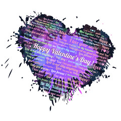 Happy Valentine's Day text ,lettering on a Heart background with colorful blots,inks card isolated on a white background.Holiday Card