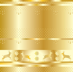 Golden festive background, gold pattern. Vector with layers. With gold elements of the reindeer, snowflake, circles, stripes. For graphic design holidays production.