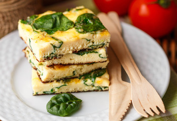 Traditional Breakfast - Frittata with spinach and cheese