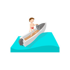 Racing boat cartoon icon