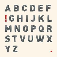 Vector bended font - Latin alphabet letters