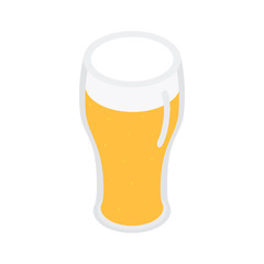 Glass of beer isometric 3d icon