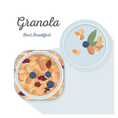 A jar of granola with blueberries, healthy breakfast. Vector illustration.