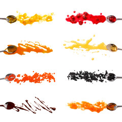 Set of 8 sauces and toppings for pancakes isolated on white. orange, raspberry and apricot jam. Maple syrup, honey, red and black caviar, chocolate. Collection of sauces for pancakes, waffles, crepes.