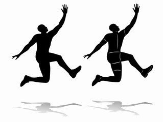 Silhouette of a man jumping, vector draw