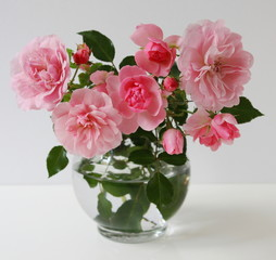 Bouquet of pink garden roses in a vase on a white background.