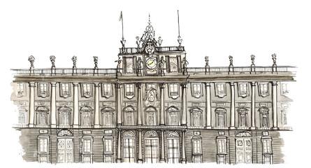 Watercolor Sketch hand drawn Madrid Spain Palacio Real isolated