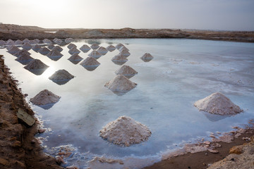 Salt mounds in a salt water, Cape Verde