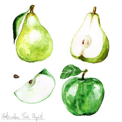 Watercolor Food Clipart - Pear and Apple