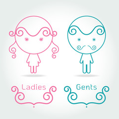 lady and gentleman symbol.Toilet Sign in kids cute style Vector illustration
