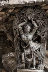 Beautiful sculpture in Chennakeshava Temple in Belur, Karnataka, India