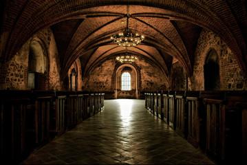 Castle room ,medieval interior, gothic hall