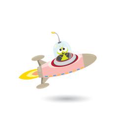 ufo. green alien vector. flying saucer