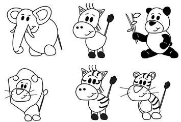 Coloring elephant, horse, panda and other animals