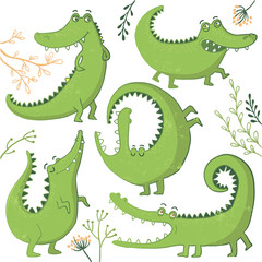 Set of funny hand drawn crocodiles.