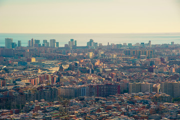 View of Barcelona from Torre Baro. Mediterranean sea,Torres de St Adrià (Las 3 torres) (The 3 towers). Barcelona, Catalonia, Spain.