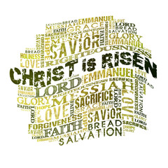 Christ Is Risen  Religious Words isolated on white