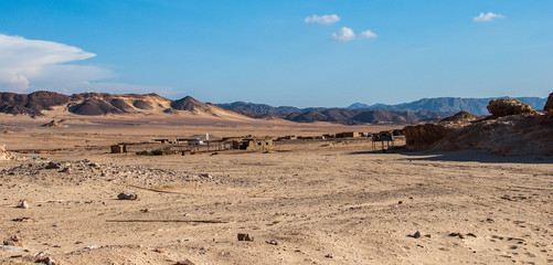 Small bedouin village in the desert with mountains, Sinai, Egypt