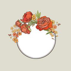 Flower frame Floral border  Summer flourish background.