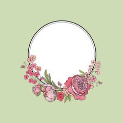 Flower frame. Floral border. Summer flourish background.