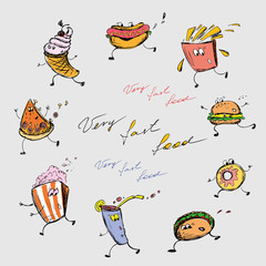 Funny fast food, hand drawing