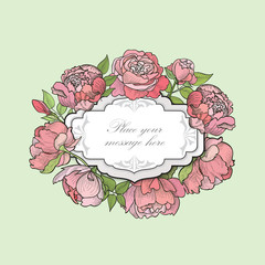 Flower frame. Floral greeting card. Floral border. Engraved flourish background