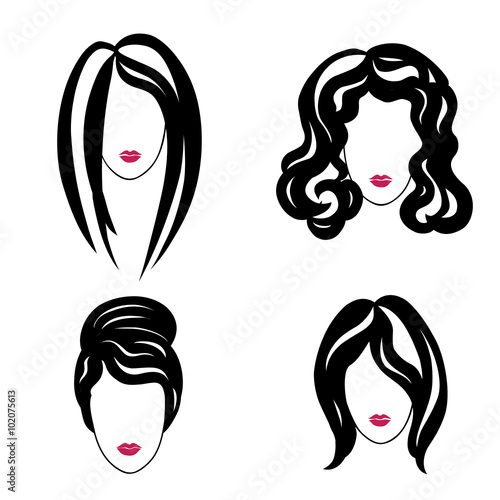 hair styly set woman profiles girl silhouettes collection female