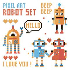 Set of pixel robots, words, hearts.