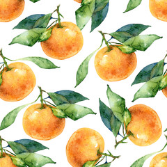 Seamless pattern with tangerine