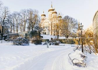 Alexander Nevsky Church in Tallinn in the winter