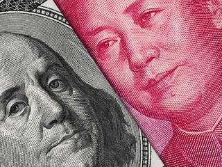 US dollar bill and China yuan banknote macro, Chinese and USA economy finance business,  money closeup