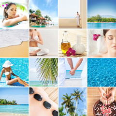 Collection of photos about Thailand. Leisure, recreation concept.